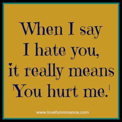 you hurt me i hate you