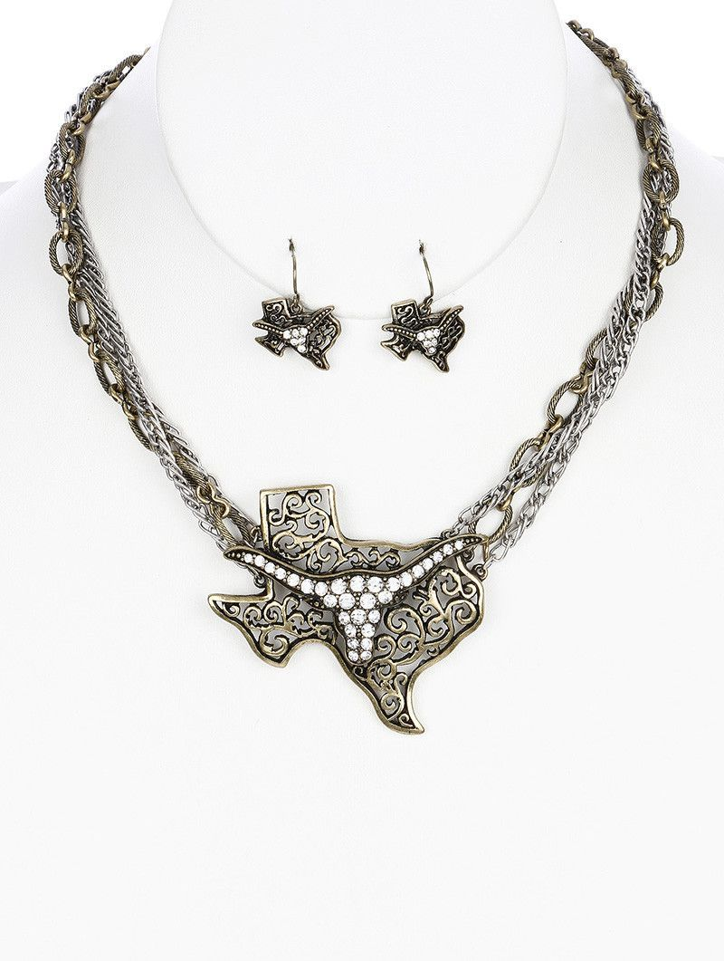 Necklace And Earring Set Aged Finish Metal Filigree Texas Bib Longhorn Two Tone Cutout Pave Crystal Stone 'Link Multi Chain Fish Hook 16 Inch Long 2 14 Inch Drop