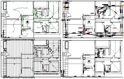 Sanitary and electrical installation details of single family house
