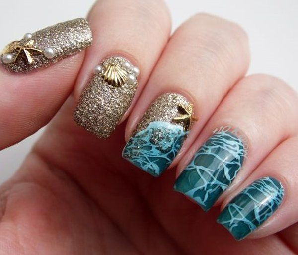 Decoration like sea foam and golden gel that resembles the sand. Ocean Nail  Art, - 45 Ocean Nail Art Ideas Nail Art Nails, Nail Art, Ocean Nail Art