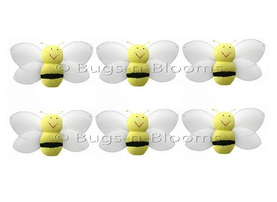 Mini X Small Bees Bumblebees Set Yellow Petite Honey Bumble Bee Decorations Birthday Party Girls Room Nursery Baby Shower Decor Smiling