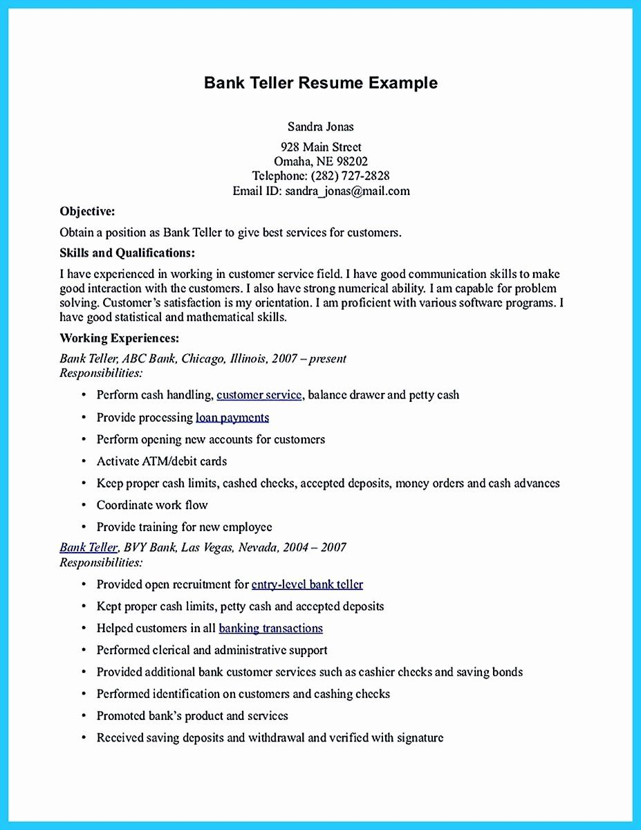 Bank Teller Resume Description Beautiful E Of Re Mended Banking
