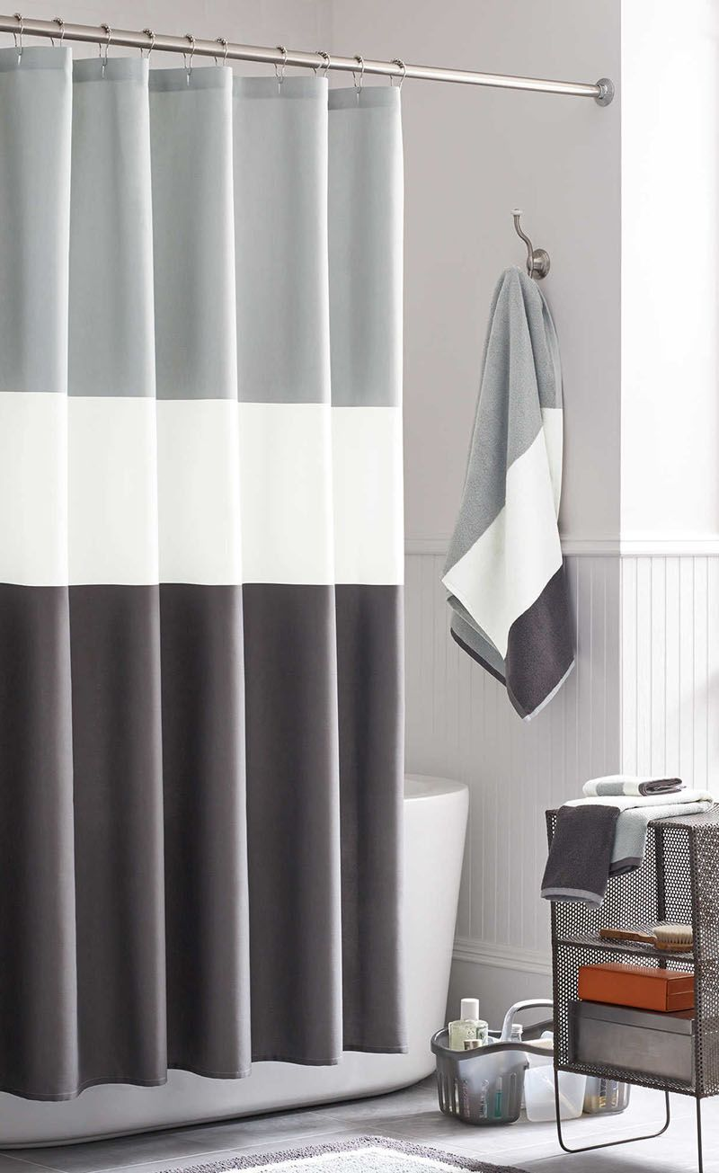 13 Ideas For Creating A More Manly Masculine Bathroom Simple Color Blocked Shower Curtain Is Both Timeless And Gender Neutral