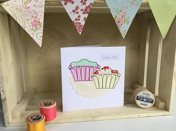 Handmade French Fancies Greetings Card Stitched Card Birthday Card