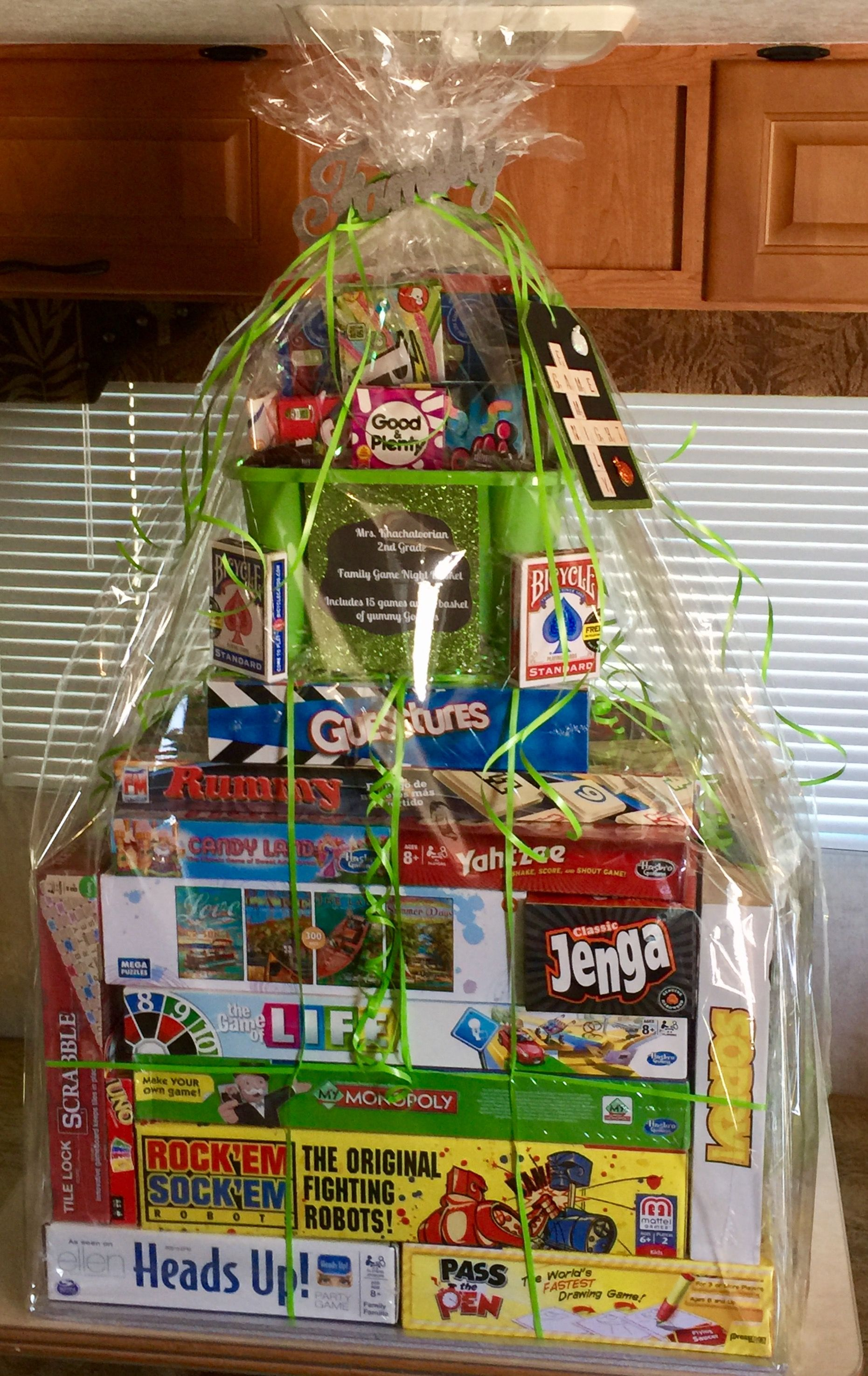 family game night raffle basket room mom and pta pinterest