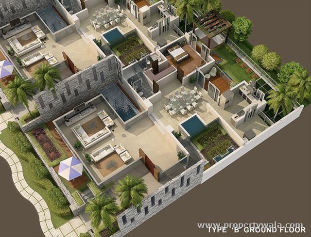 Villa2 3d house plans floor plans pinterest planos for Decoracion de interiores 3d