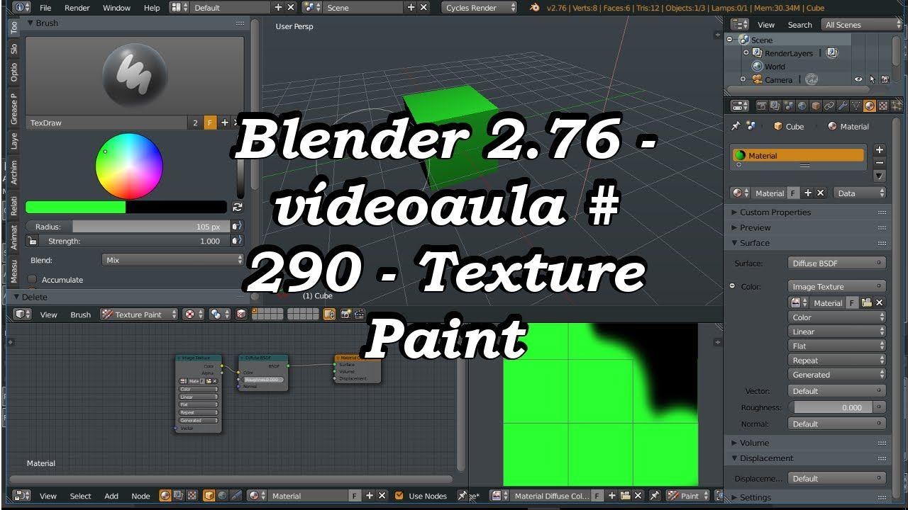Vdeoaula 290 Texture Paint no Cycles Blender 276 Blender 3d