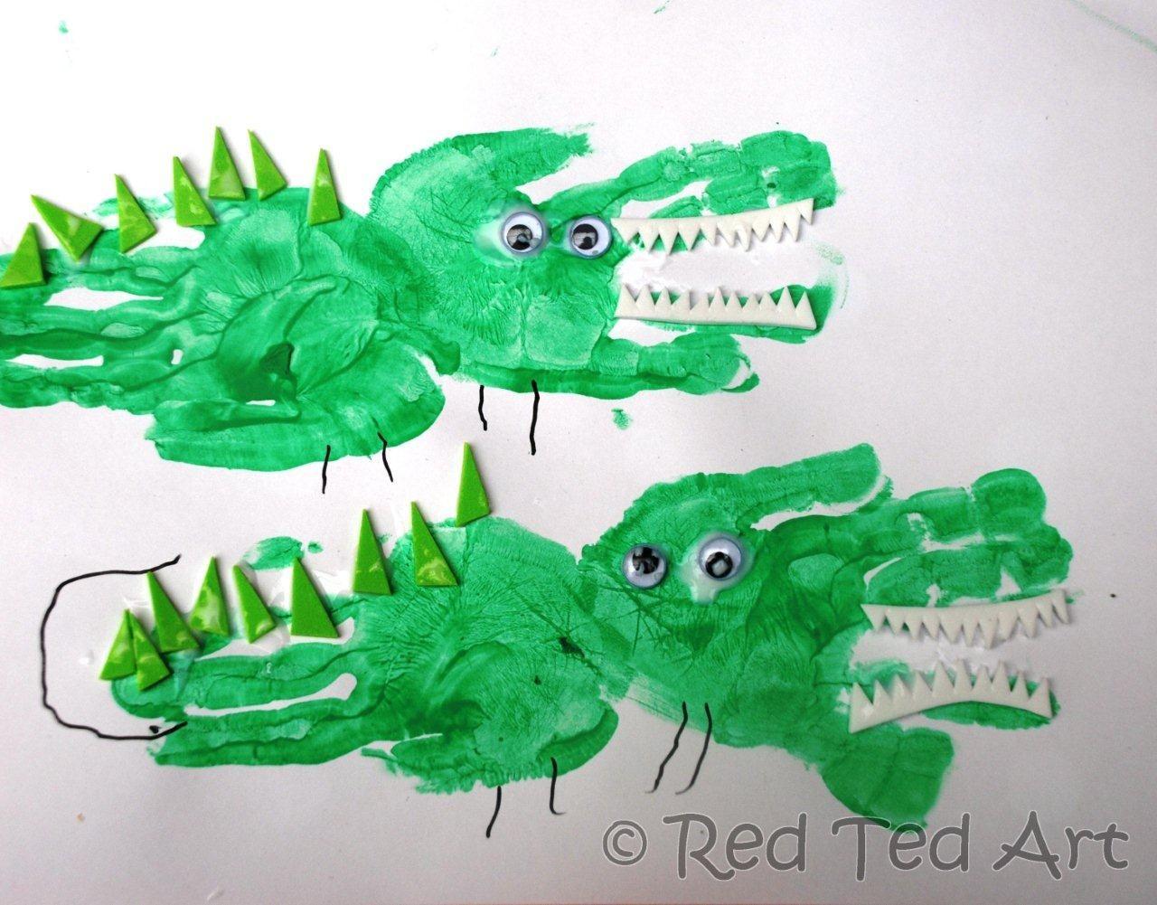 Handprint Crafts Crocodile