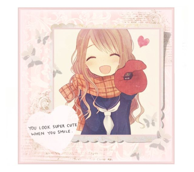 """You look super cute when you smile =^~^="" by once-upon-a-dreamer ❤ liked on Polyvore featuring art"