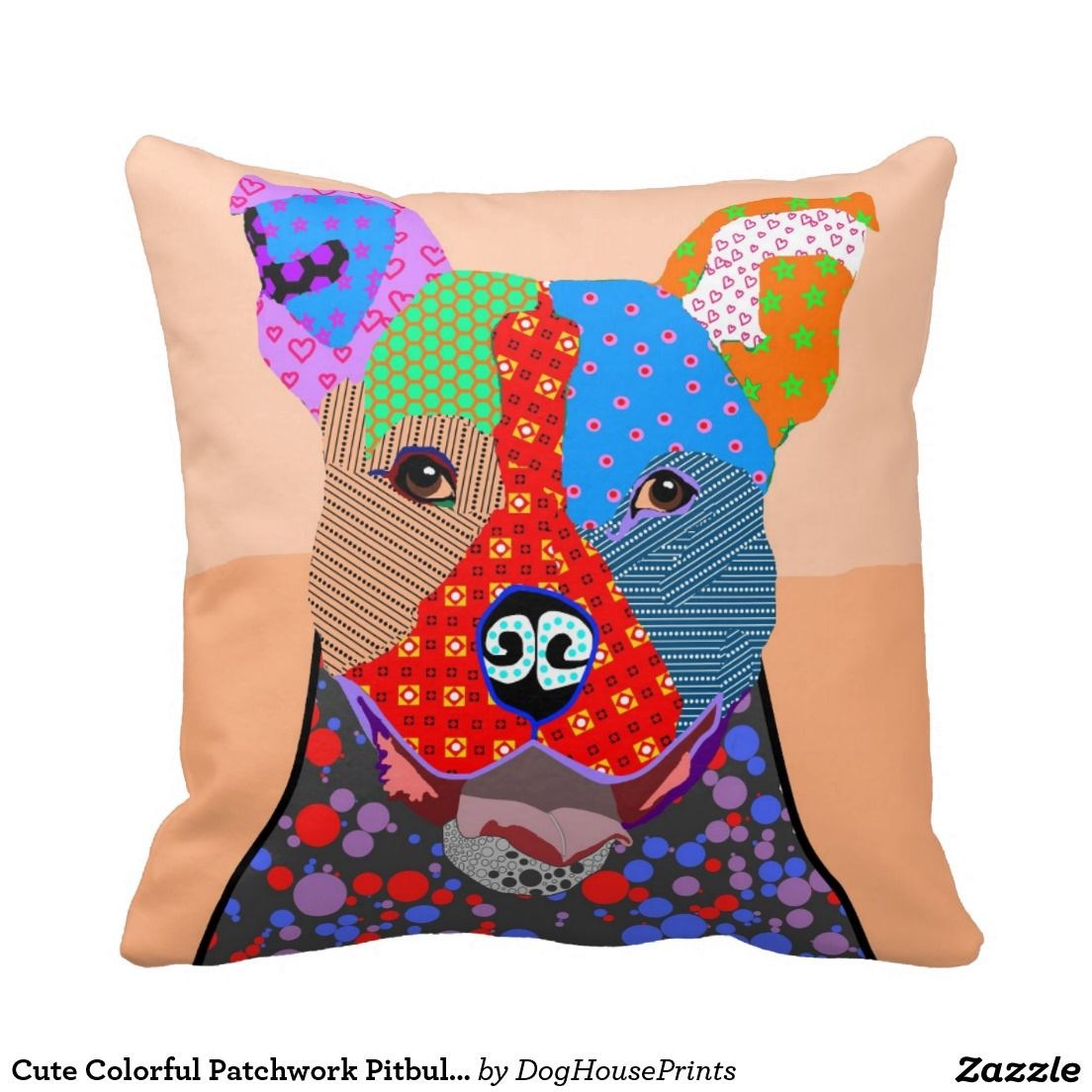Cute Colorful Patchwork Pitbull Dog Pillows