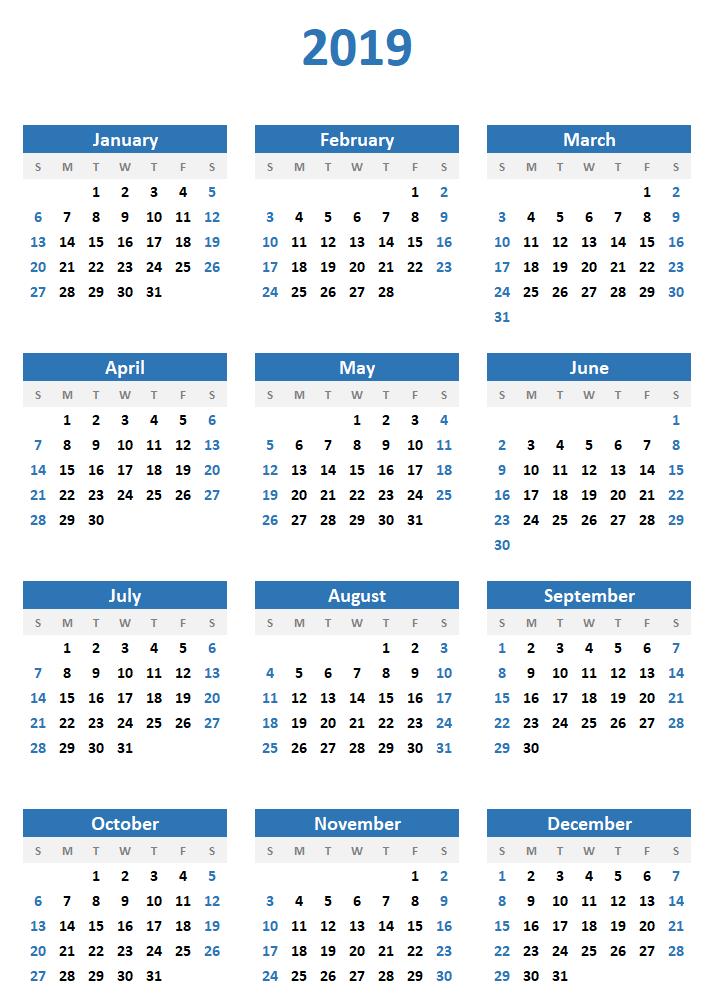 Download Free Simple Calendar 2019    Calendar 2019   Free, Calendar