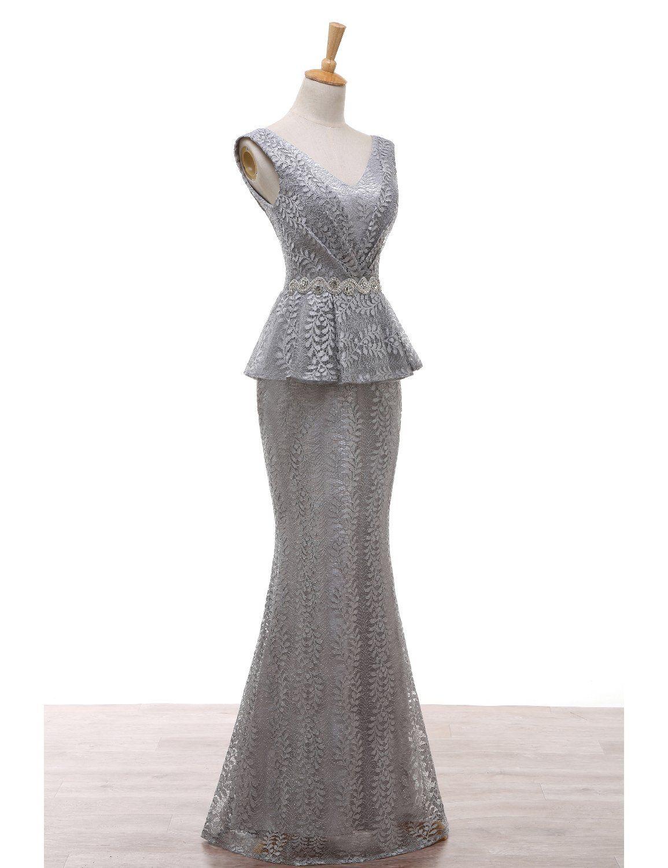 Grey mermaid wedding dress  JoJoBridal Womens V Neck Mermaid Bridal Mother Dresses Evening Gowns