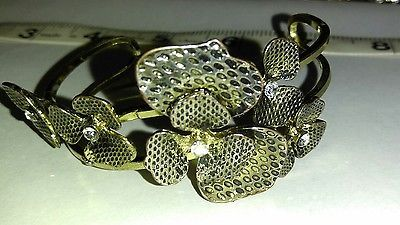Vintage floral, 3d, rhinestone bracelet flowers orchid, daisy, brass