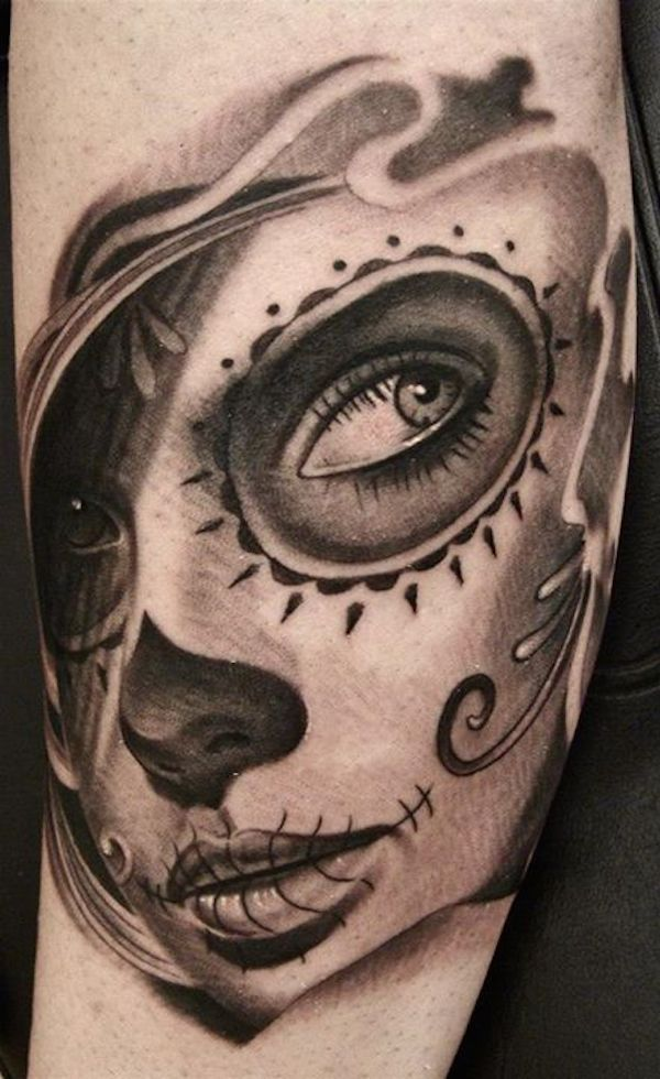 black and white day of the dead tattoos for women | day of the dead
