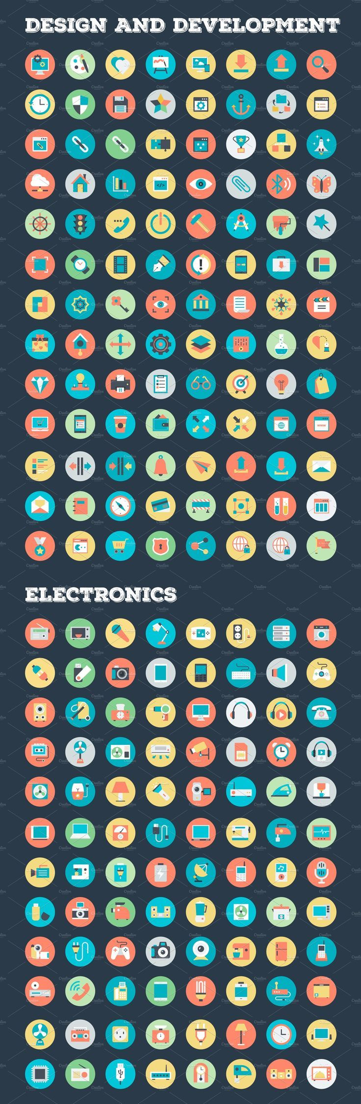 4059 Flat Rounded Vector Icons , AD, NumberCategories