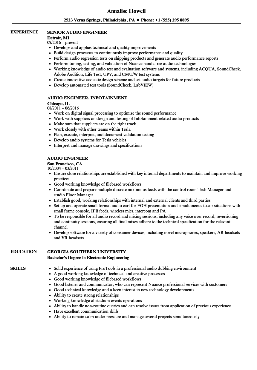 Audio Engineer Resume Check More At Http Easybusinessposters Com Audio Engineer Resume