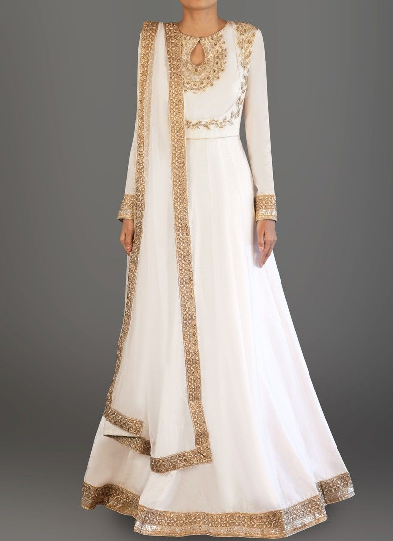 c29338b533d White and Gold Embroidered Dhupioni Silk Anarkali | Indian coutour ...