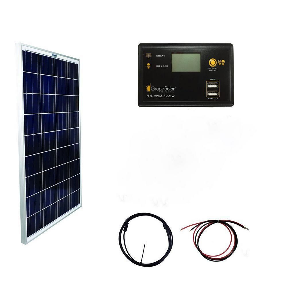 Grape Solar 100 Watt Basic Off Grid Polycrystalline Silicon Panel Kit Gs 100 Basic The Home Depot Solar Power Kits Portable Solar Power Solar Energy Panels