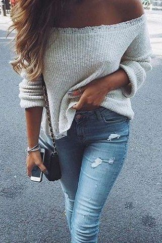 #winter #outfits Off Shoulder Knit // Ripped Skinny Jeans // Black Shoulder Bag