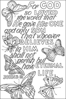 Coloring Page John 3 16 Yay For Butterfly Week Bible Verse