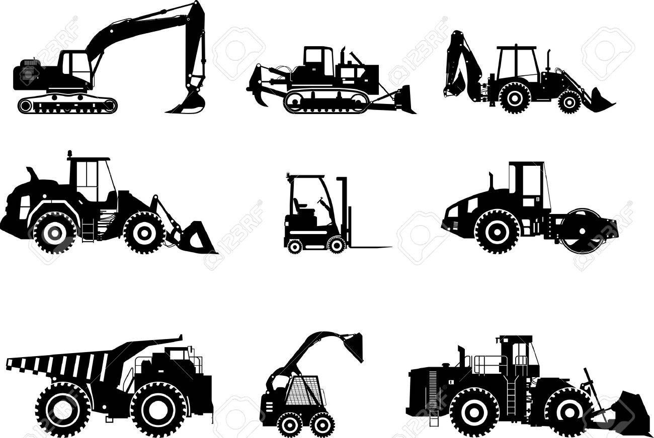 Silhouette Illustration Of Heavy Equipment And Machinery Ad