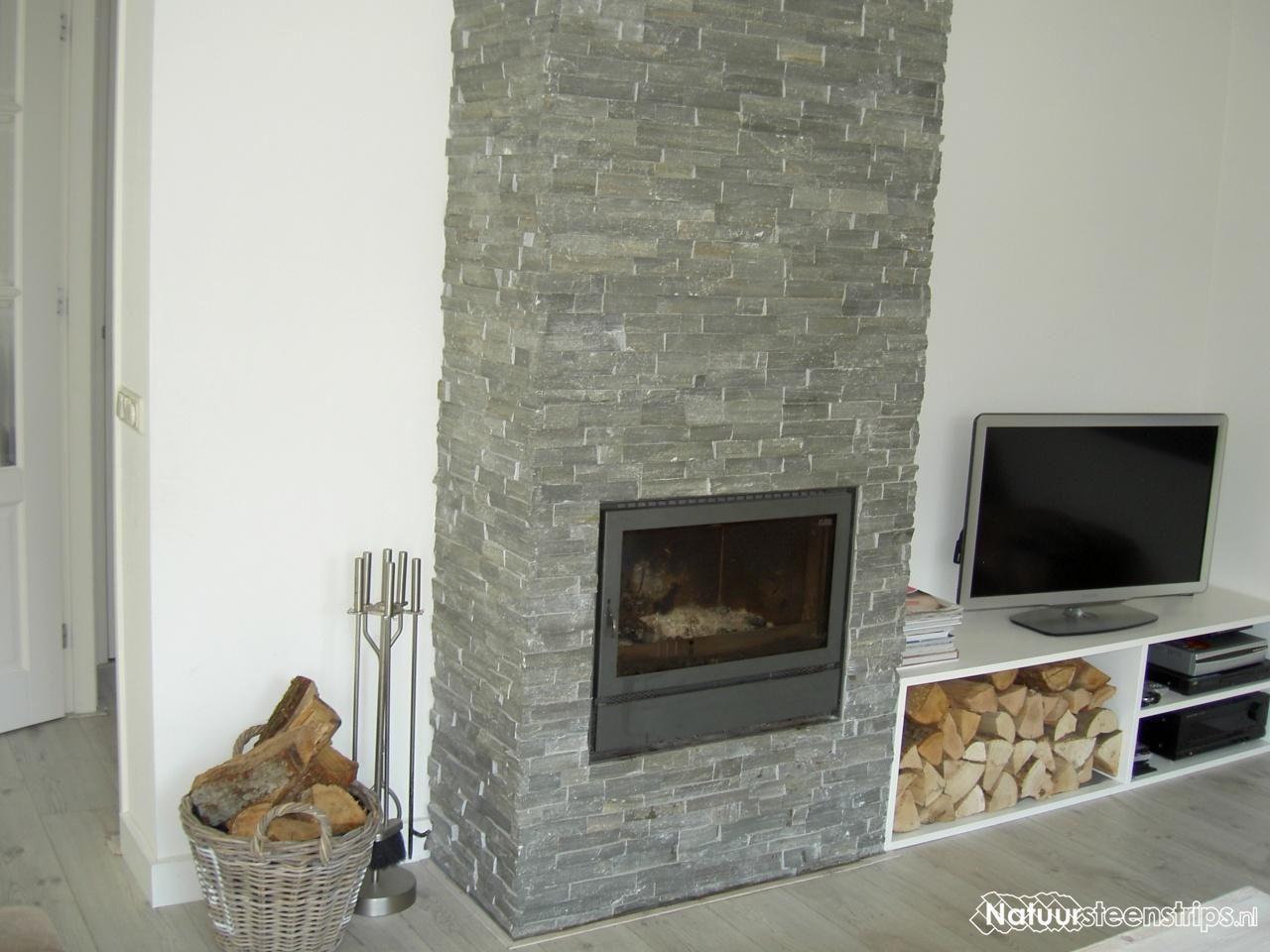 Steenstrips van natuursteen kleur grijs kwartsiet for Steenstrips woonkamer