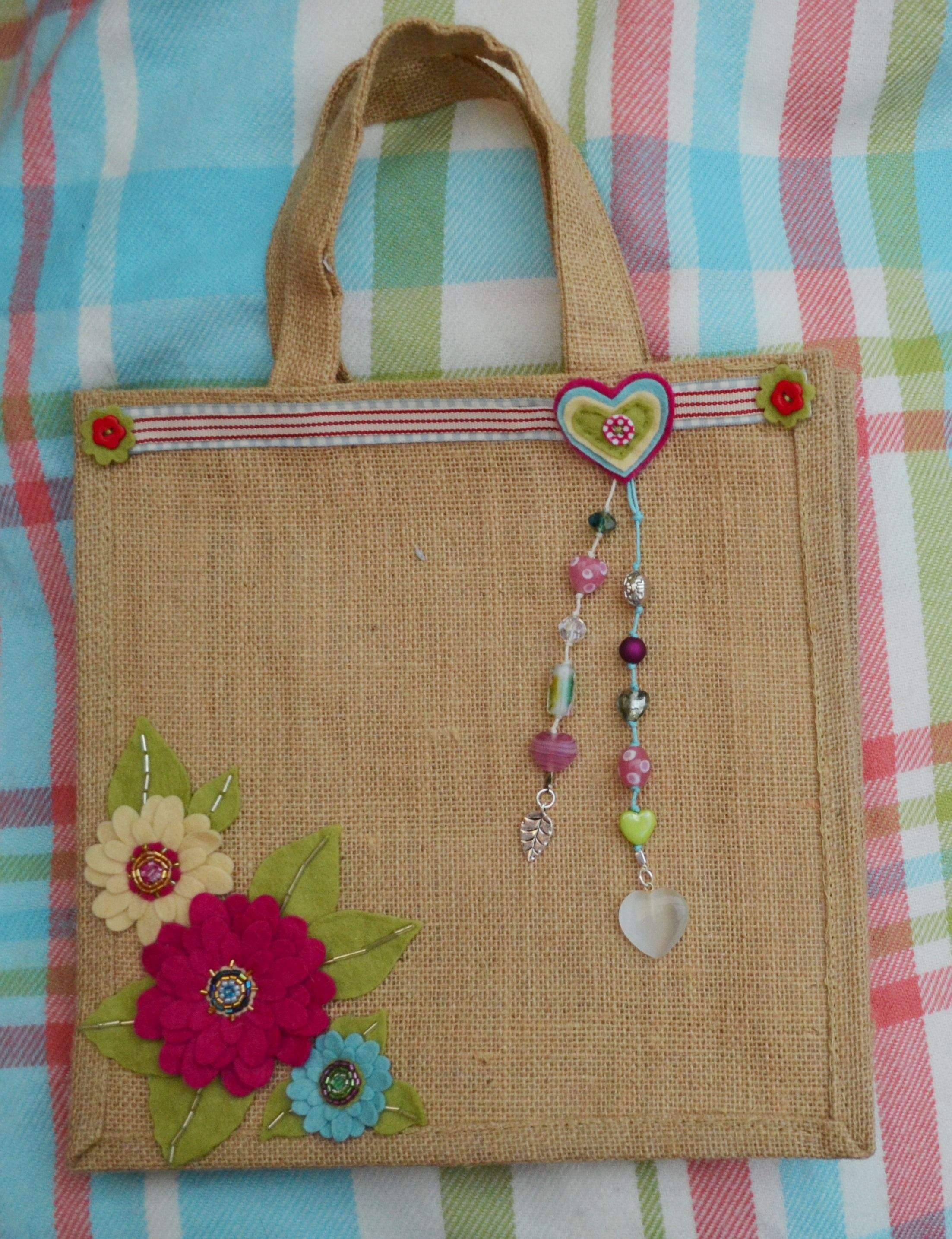 Jute bag flower design by claire mckay 14 bags bags Burlap bag decorating ideas