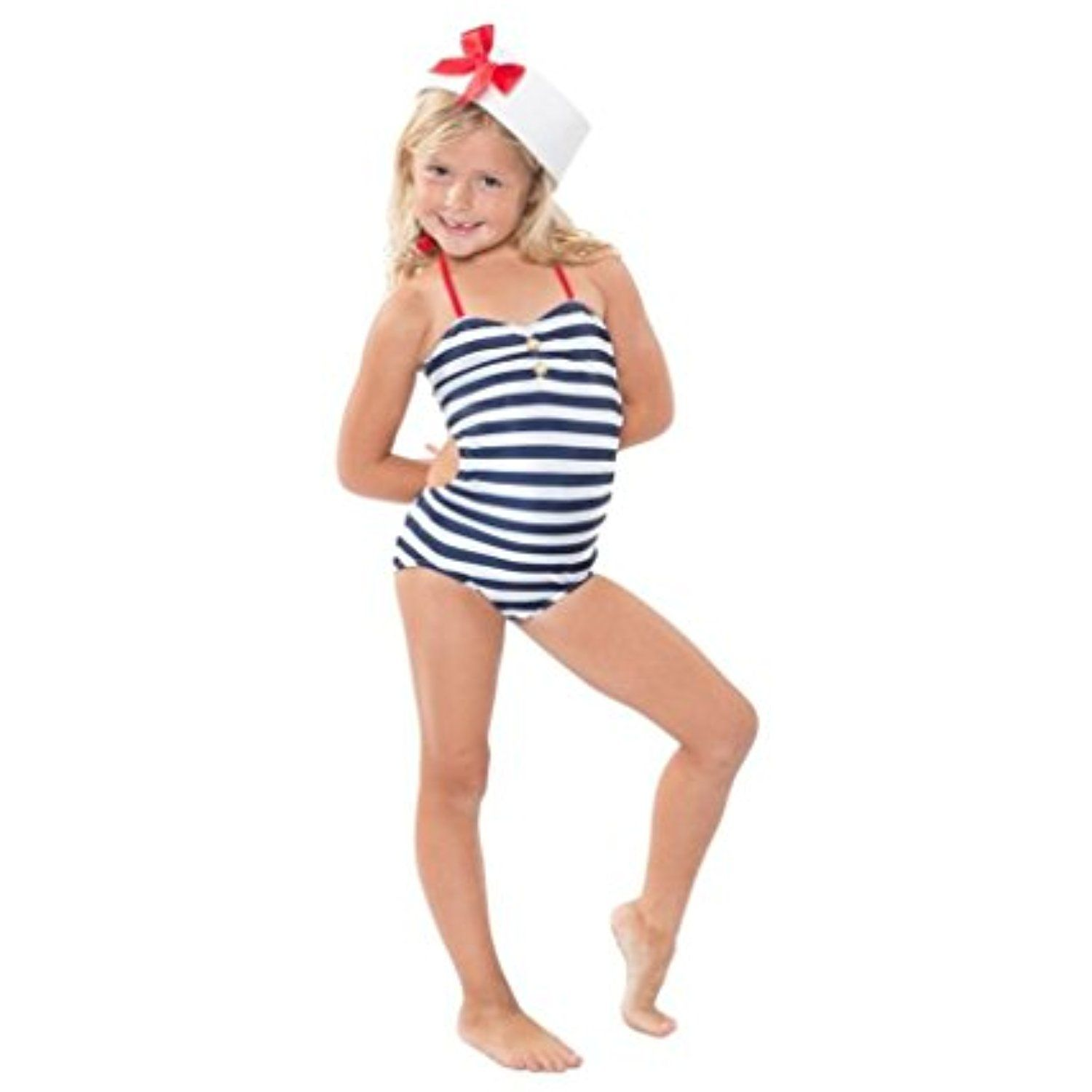 7692d4475cc Girls Nautical One Piece Swim Bathing Suit Swimwear for Kids ** To view  further for this item, visit the image link. (This is an affiliate link) # Swimwear