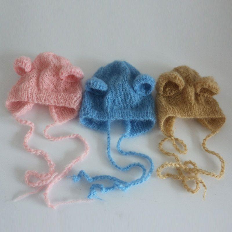 0f4fdc084ba 3pc set Newborn mohair hat ear bear bonnet 3 colors newborn baby hat photo  props handmade knit mohair bonnet newborn photography