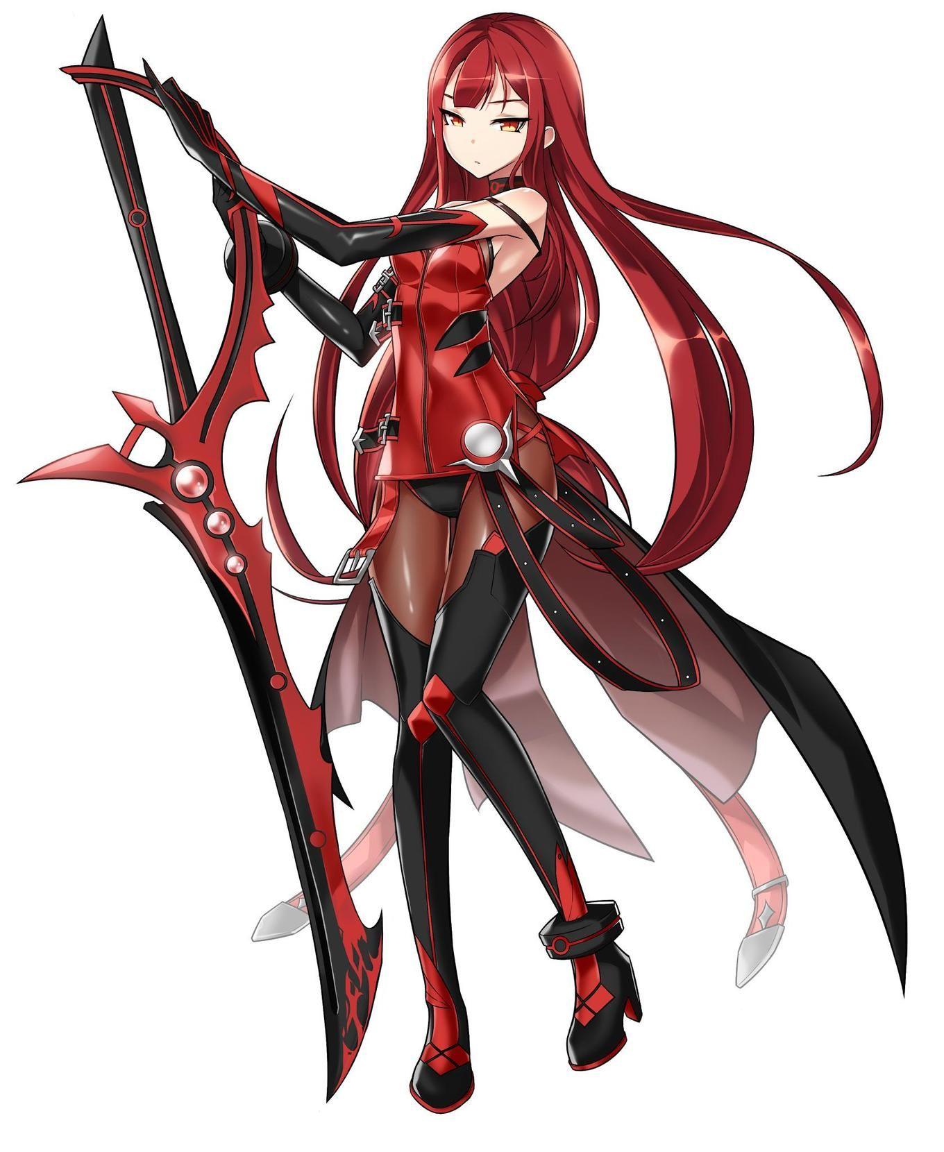 Red Warrior Anime Elsword Crimson Avenger Anime Character Design