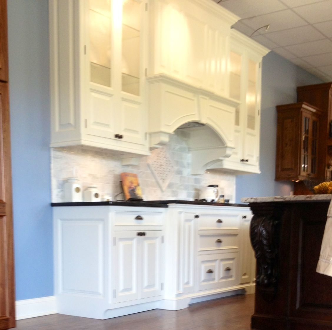 I Love Blue Walls With White Cabinets