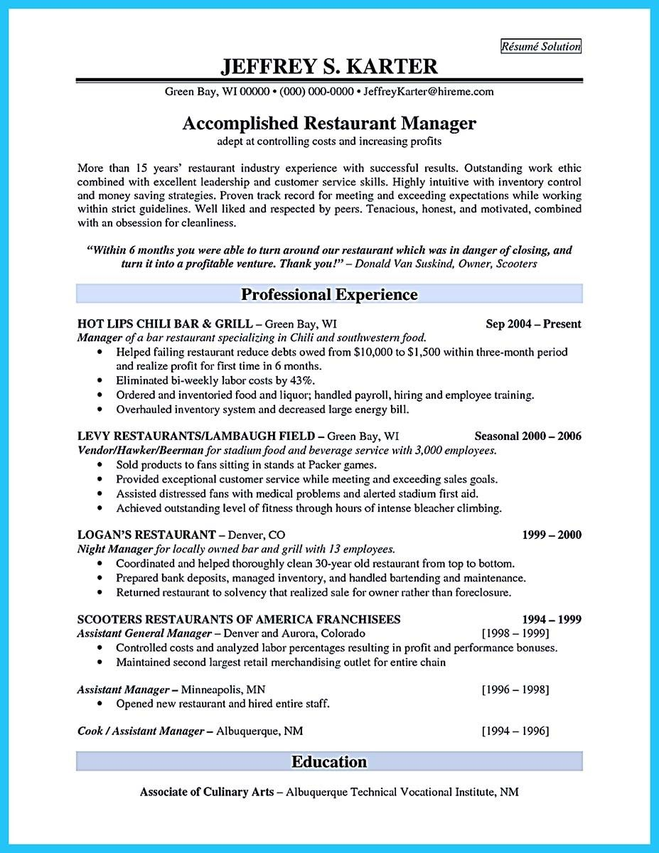 nice Brilliant Bar Manager Resume Tips to Grab the Bar Manager Job ...