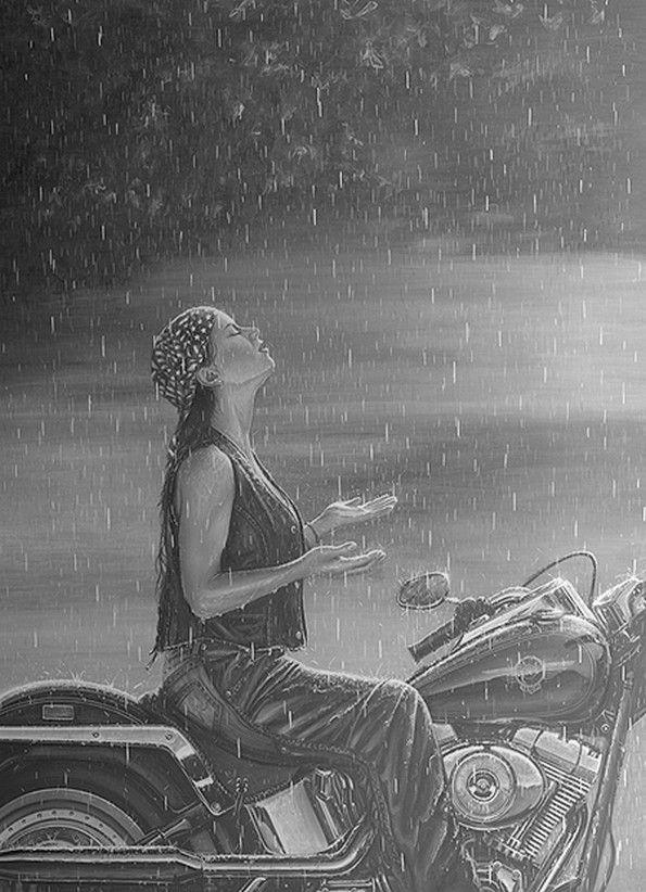 ,women bikers rain