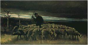 Pastore con un gregge di pecore.