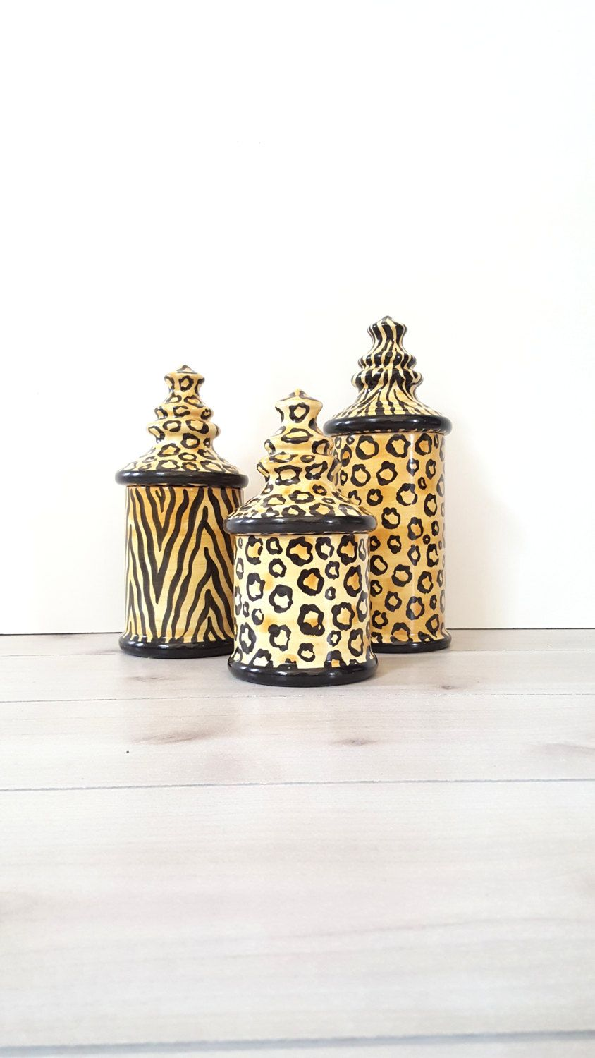 3pc Canister Set ~ Laurie Gates Designs LA Pottery Matching Leopard ...
