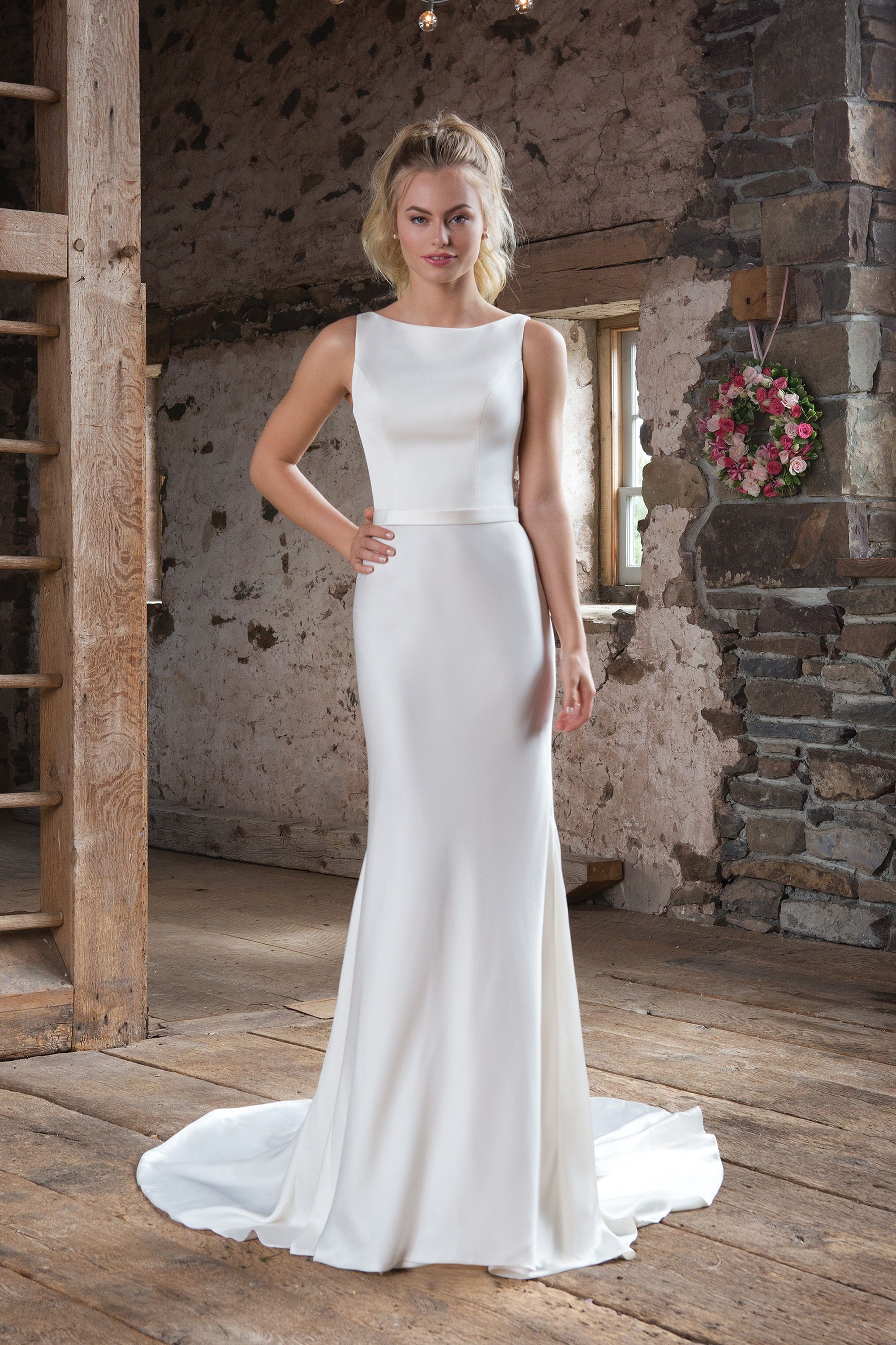 Style 1104 HighNeck Satin Dress with Lace Square Back