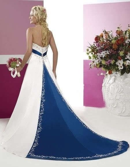 Satin A Line Wedding Dress With Royal Blue Train Blue Wedding Dress Royal Purple Wedding Dress Online Wedding Dress