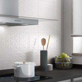 Faïence mur blanc n°0, décor loft facette l20 x L502 cm Leroy