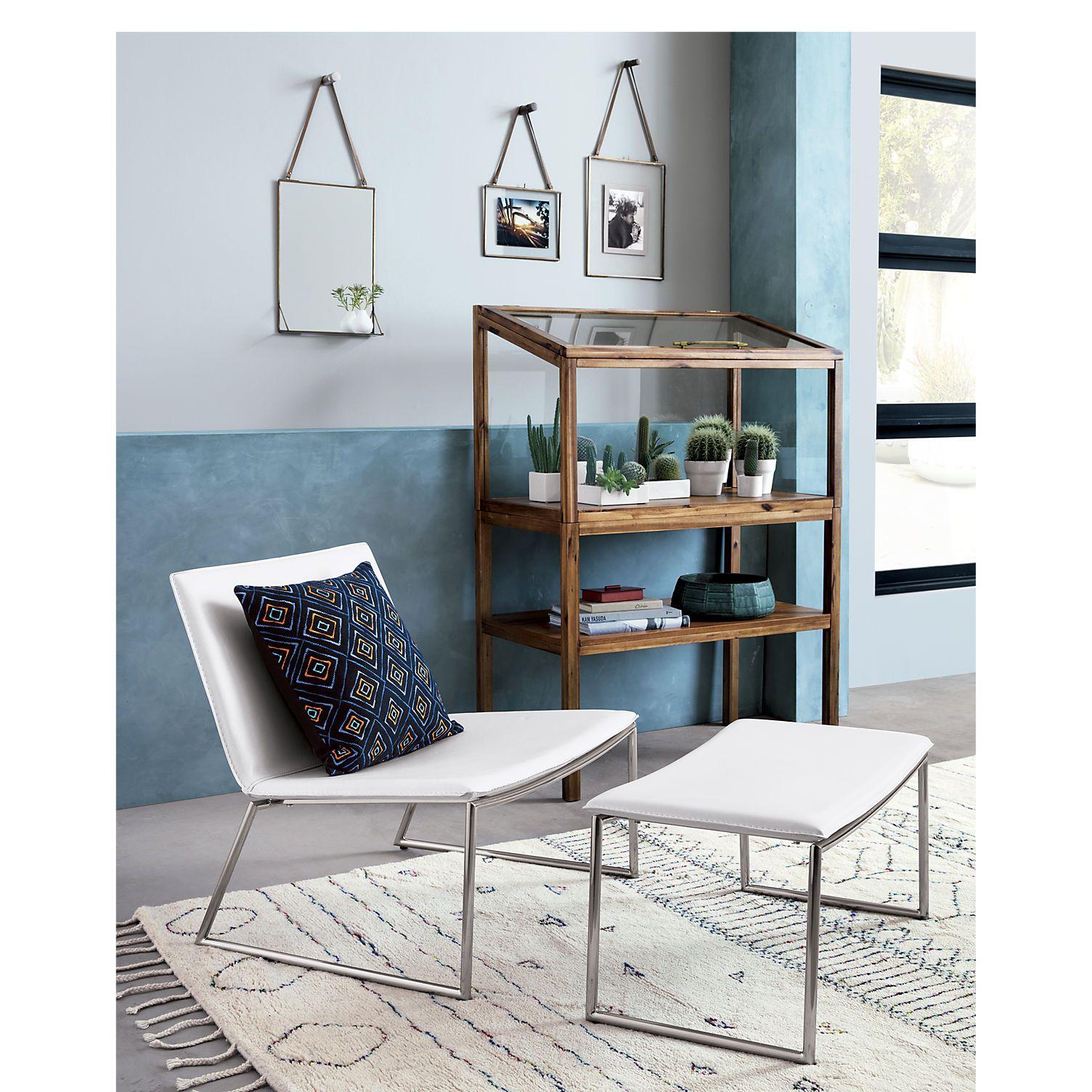 Triumph Chalk Lounge Chair Tubular Steel Nickel Finish And  # Muebles Tubulares Beta