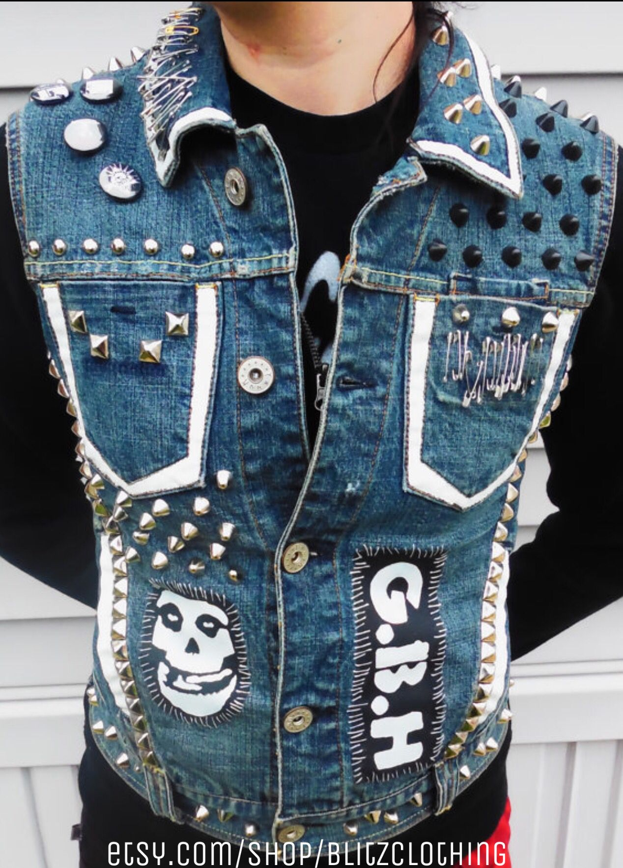 Misfits GBH punk studded vest  46d96e3a17f6a