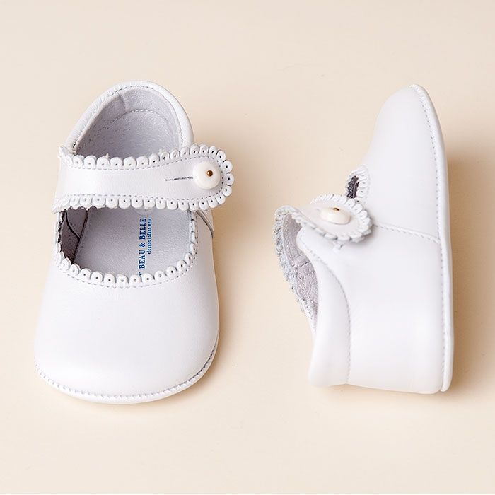 White Mary Janes Girl Shoes | Christening/Baptism Collection - Designer Gowns & Shoes