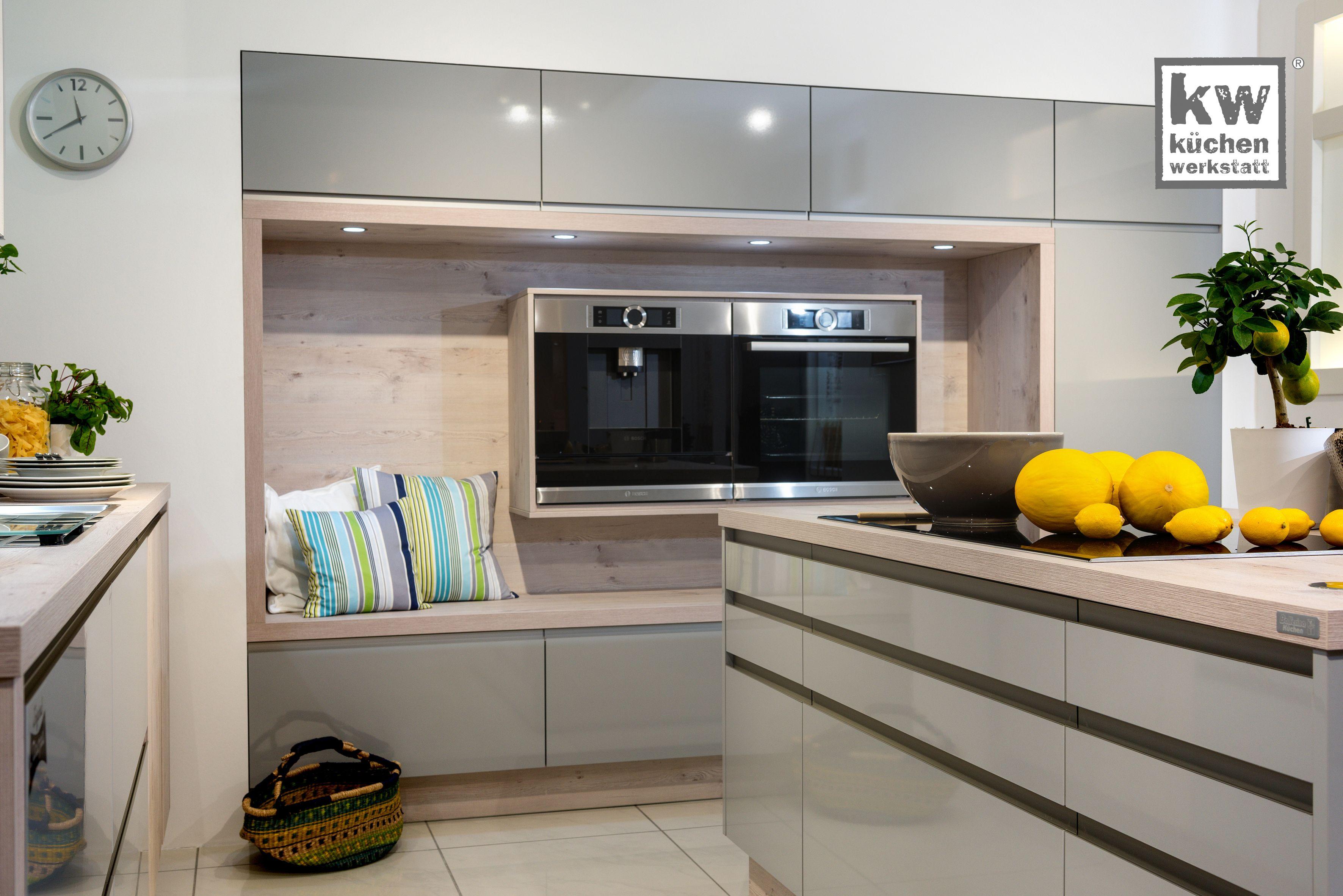 Ideen für küchenideen grifflose küche mit gemütlicher sitzecke  moderne küchen