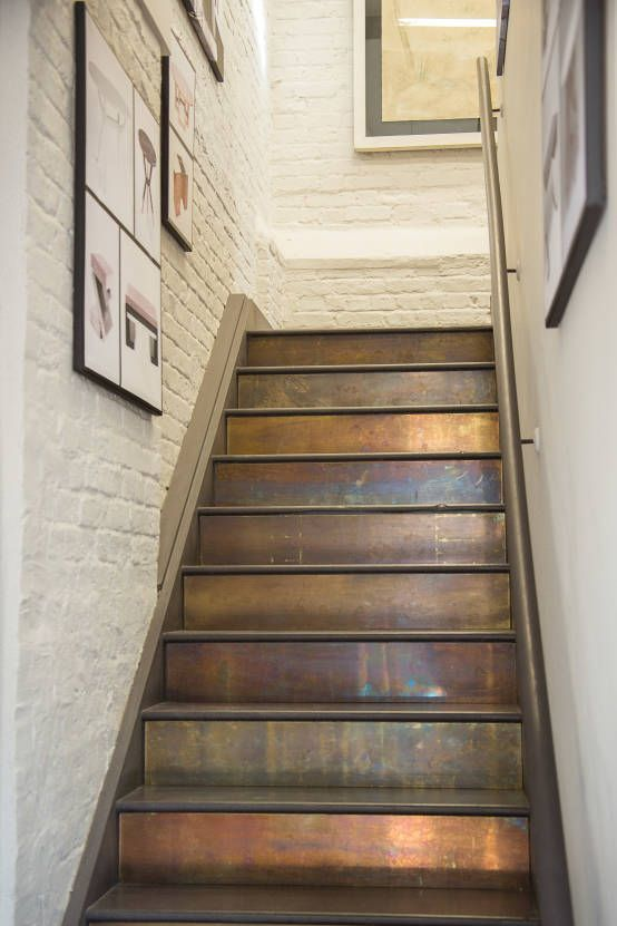 dark basement stairs. Patinated Brass Cladding on stairs  More Stairs Pinterest