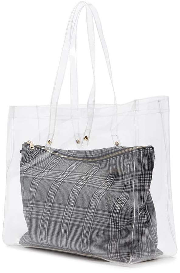 bca87d775c FOREVER 21 Clear Tote   Glen Plaid Pouch