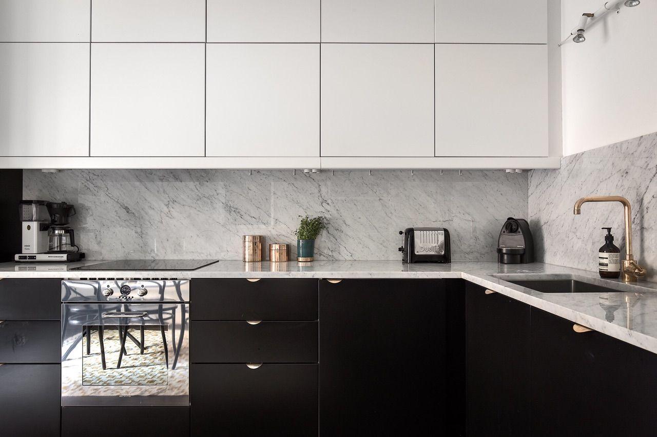 Lacquered Matte Black White Kitchen Cabinets Black White Kitchen