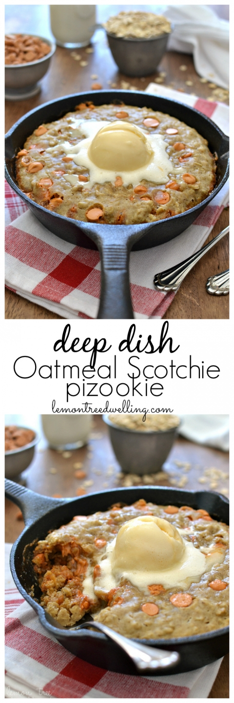 Deep Dish Oatmeal Scotchie Pizookie | Lemon Tree Dwelling