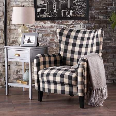 Noble House Plaid Fabric Club Accent Chair, Black, White ...