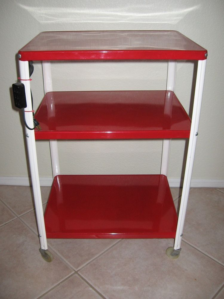 Details about Vtg Cosco 3 Tier Red Metal Rolling Kitchen ...