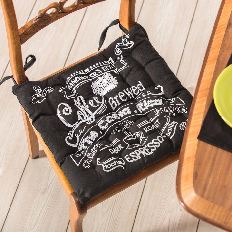 Almohad n para silla estampado color negro - Almohadones para sillas ...