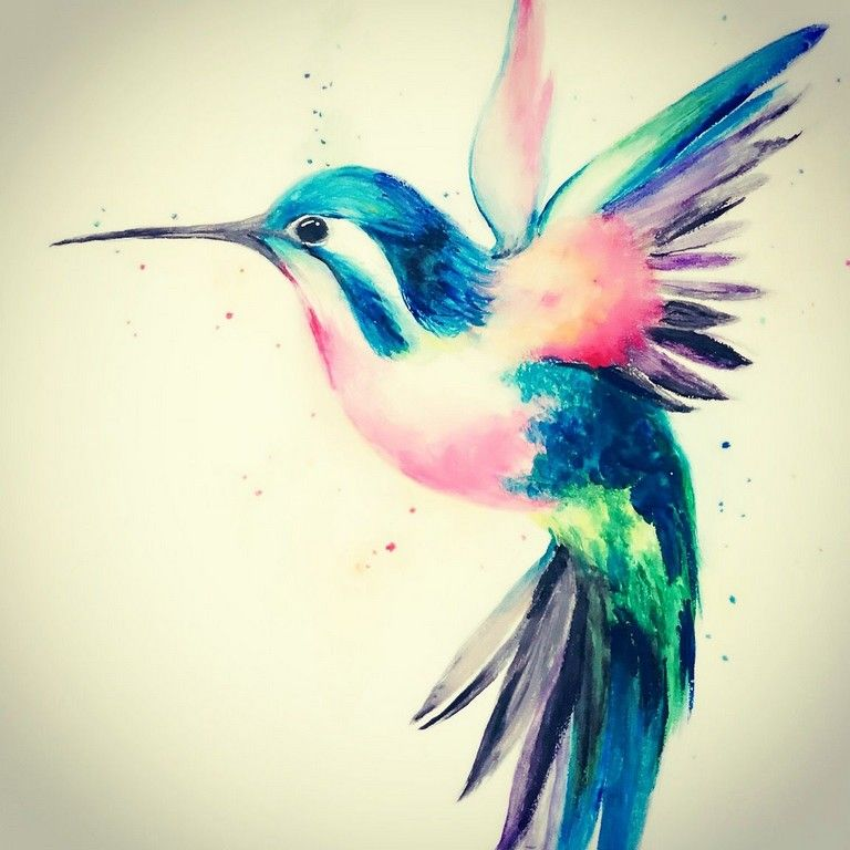15+ Wonderful Watercolor Hummingbird Tattoo Ideas | Watercolor ...